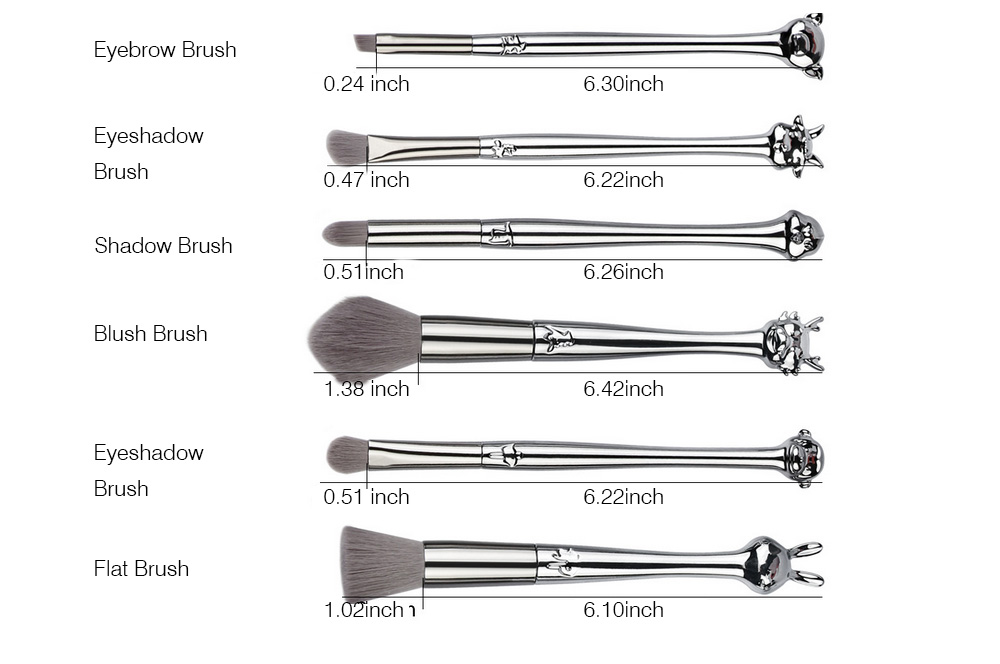 12PCS Makeup Brushes Set with Creative Animal Heads Model, Elegant Chinese Zodiac Style Handles Cosmetic Brushes with Brushes Package 9