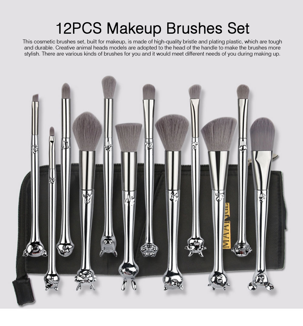 12PCS Makeup Brushes Set with Creative Animal Heads Model, Elegant Chinese Zodiac Style Handles Cosmetic Brushes with Brushes Package 0