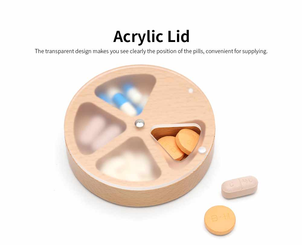 Wooden Nontoxic Pill Case for One Week, Portable Damp-proof Medicine Box with Transparent Lid for Easy Storage 3