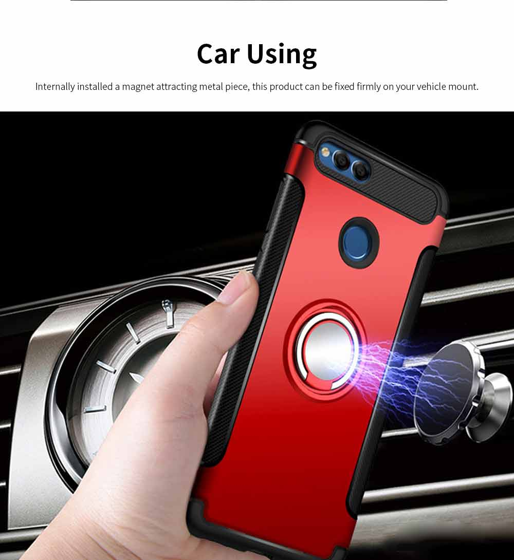 Creative Shock-resistant Cell Phone Protector for Huawei Honor/P20/mate 10/nova 3e, High Quality Silicone Phone Case with Metal Sheet for Magnetic Car Mount 3