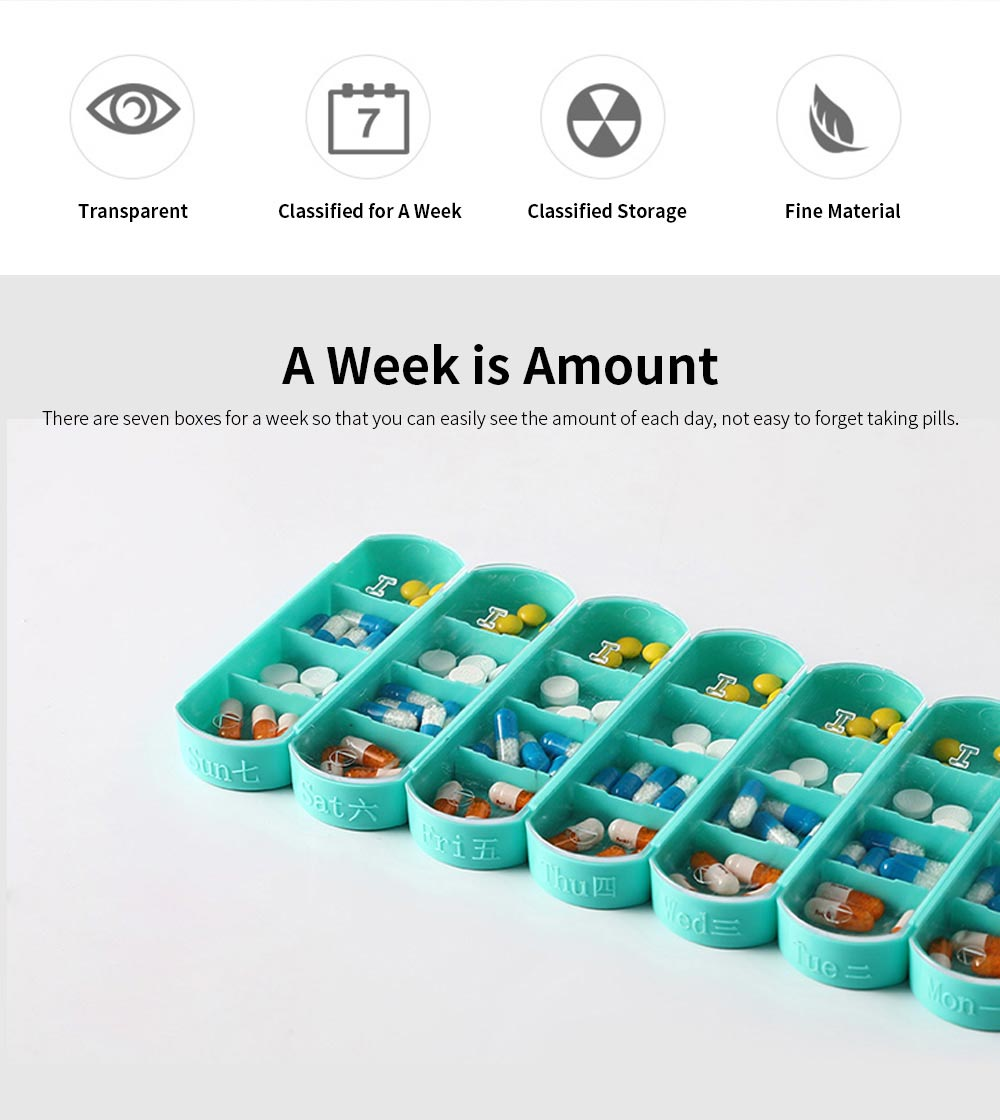 Weekly Pill Box 4 Times A Day, Portable Mini Sized Plastic Pill Case for Easy Storage, Medicine Classified Storing 1