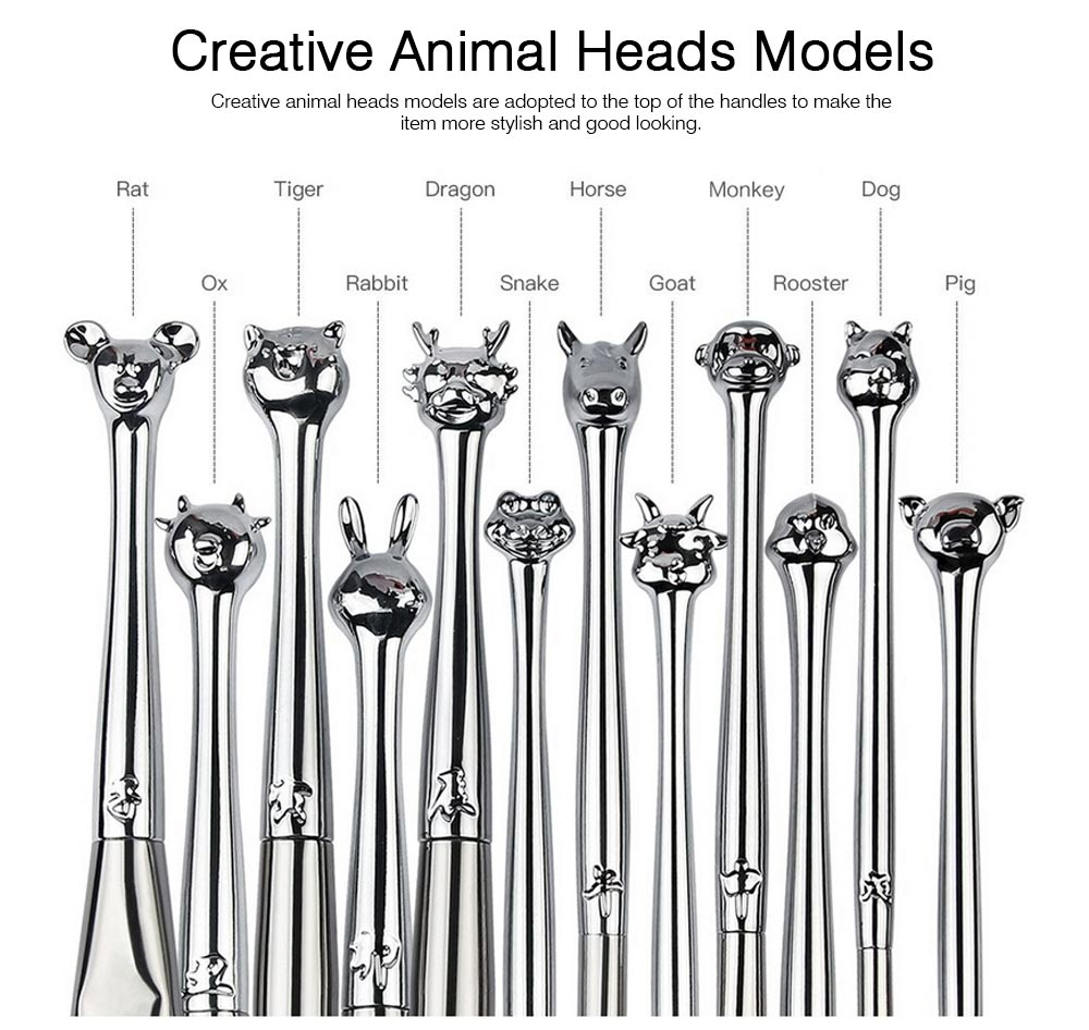 12PCS Makeup Brushes Set with Creative Animal Heads Model, Elegant Chinese Zodiac Style Handles Cosmetic Brushes with Brushes Package 3