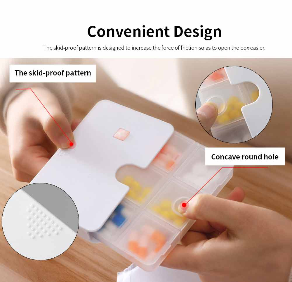 Portable Weekly Plastic Pill Case, Transparent Combined Double Design Medicine Box for Easy Storage 4