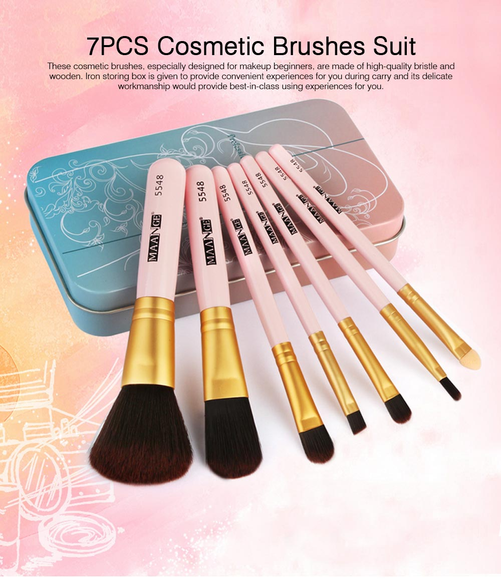 Stylish 7PCS Professional Makeup Brushes Set with Iron Box, Elegant Finest Cosmetic Brushes Suit For Makeup Beginners 0