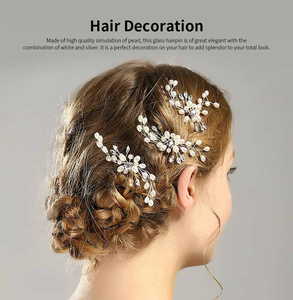 Elegant White and Silver Hairpin for Brides, Imitation Pearl Hair Decoration In Vogue, Accessories for Wedding Dress 0