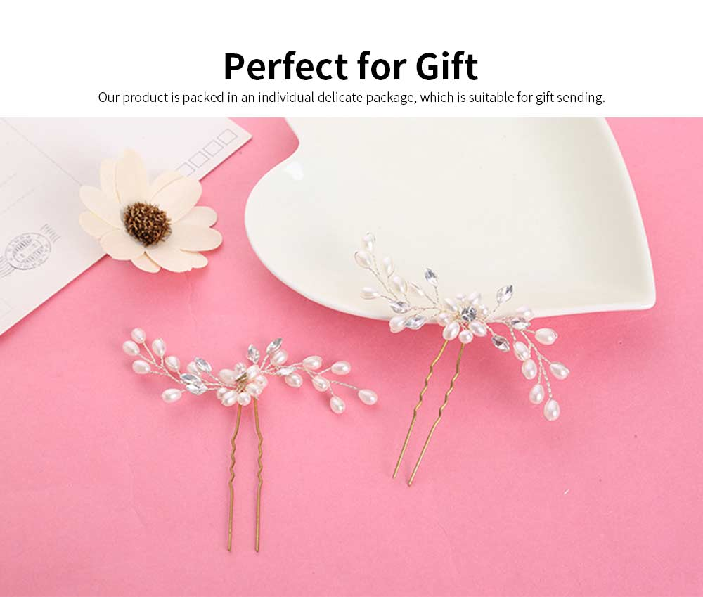 Elegant White and Silver Hairpin for Brides, Imitation Pearl Hair Decoration In Vogue, Accessories for Wedding Dress 4