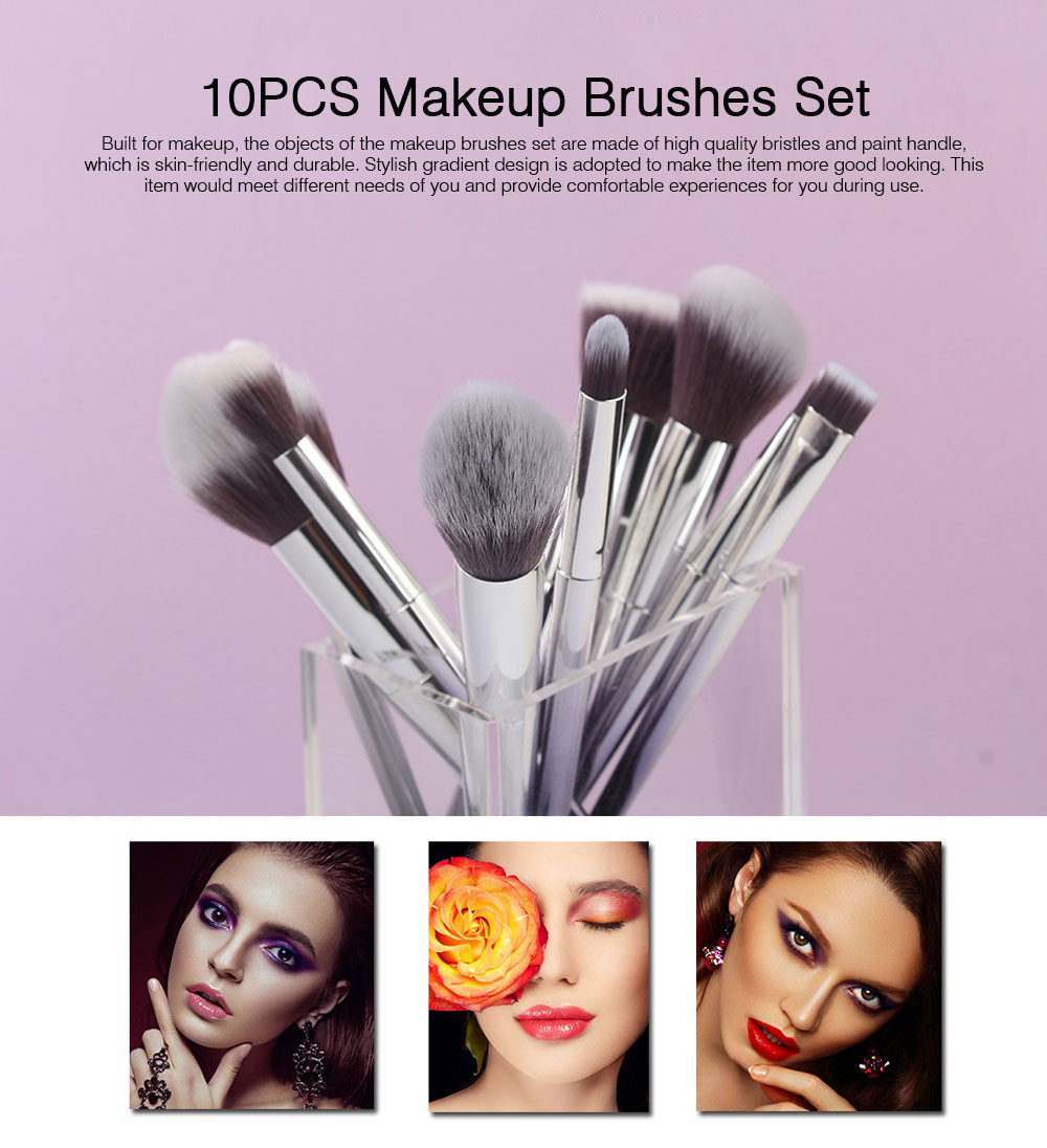 Stylish Gradient 10PCS Professional Cosmetic Brushes Set, Soft Bristle Makeup Brushes Suits with Fashion Paint Handle 0