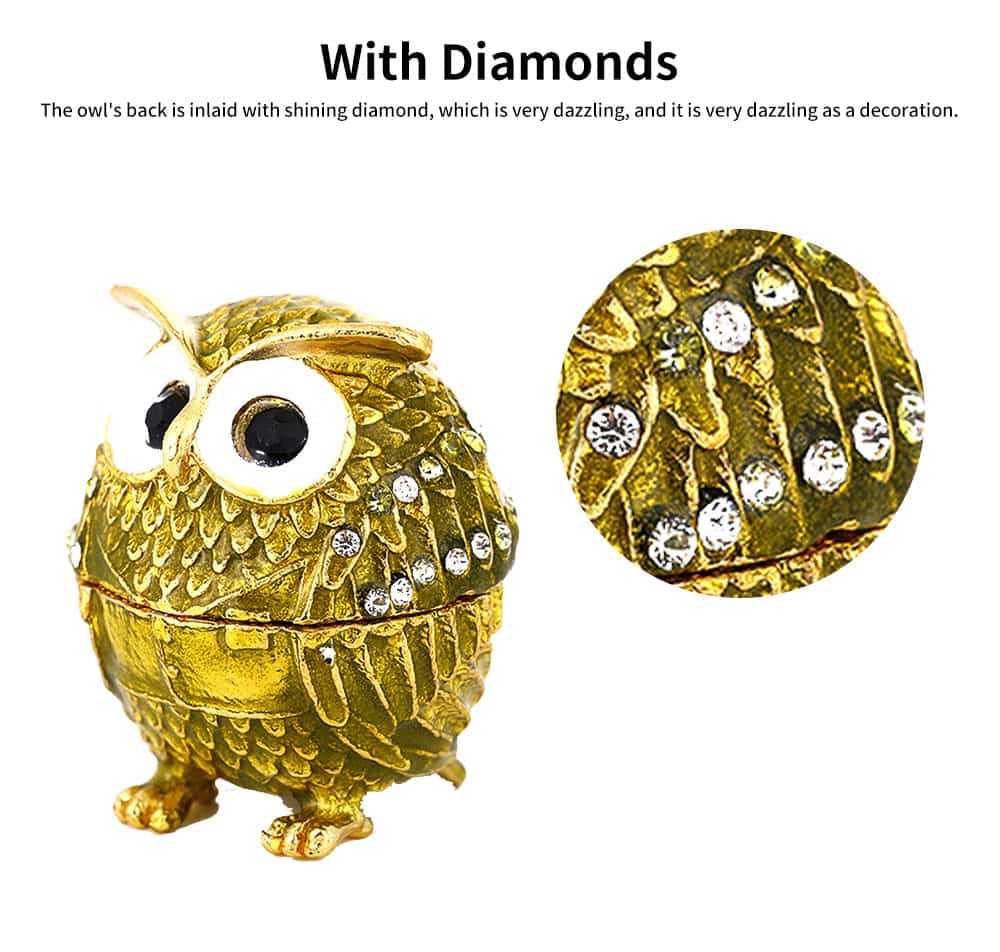 Drip-oil Set with Diamond Metal Handicraft Furnishing with A Lovely Owl Shape, Creative Jewelry and Presents Storage Box Gift for Kids 5