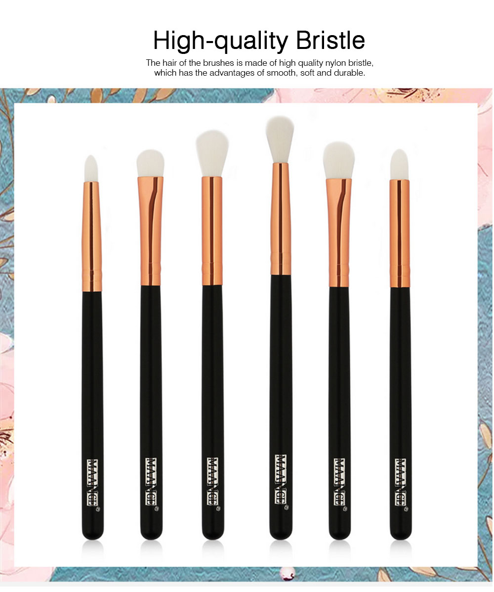 Delicate Professional Makeup Eye Shadow Brushes Suit, Minimalist 6PCS Wooden Multiple Eye Brushes Set 1