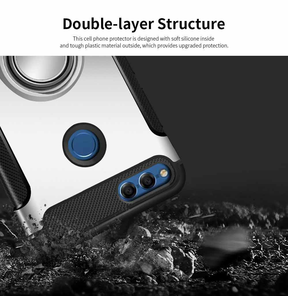 Creative Shock-resistant Cell Phone Protector for Huawei Honor/P20/mate 10/nova 3e, High Quality Silicone Phone Case with Metal Sheet for Magnetic Car Mount 1