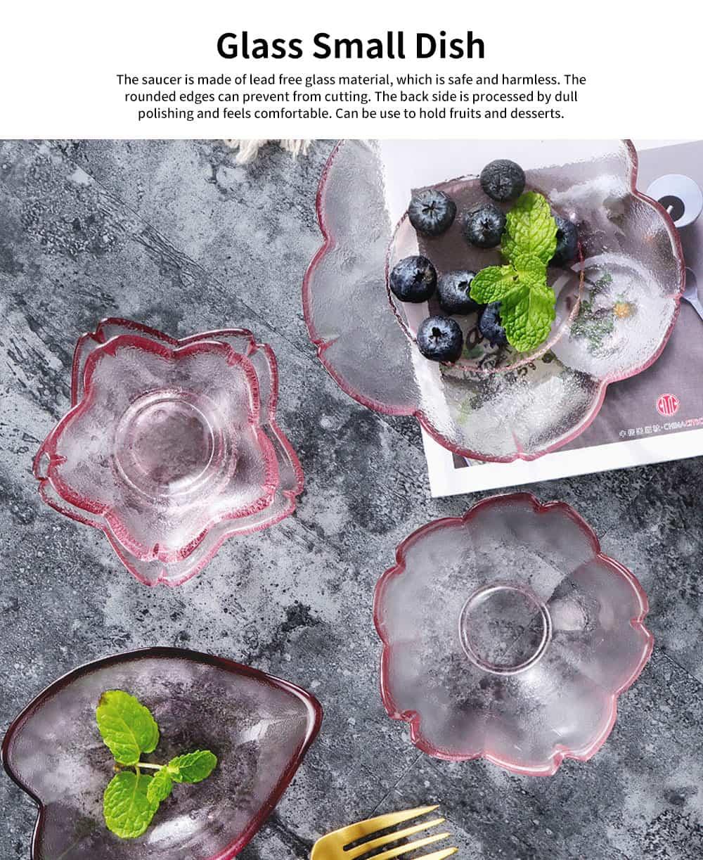Japanese Cherry Little Dish Crystal Glass Small Bowl Fruit Dessert Plate Pink Dull Polish Saucer for Household 0