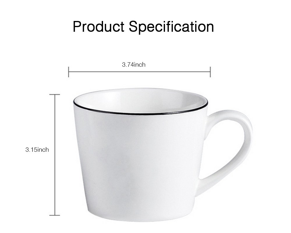 Minimalist Elegant White Ceramics Mug, Large Capacity Pure Color Office Household Breakfast Milk Coffee Cup 5