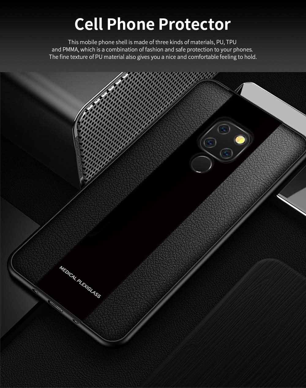 High Quality Fashionable Cell Phone Protector for Huawei, iPhone, Samsung, Stitching PU Texture Shatter-resistant Mobile Phone Shell 0