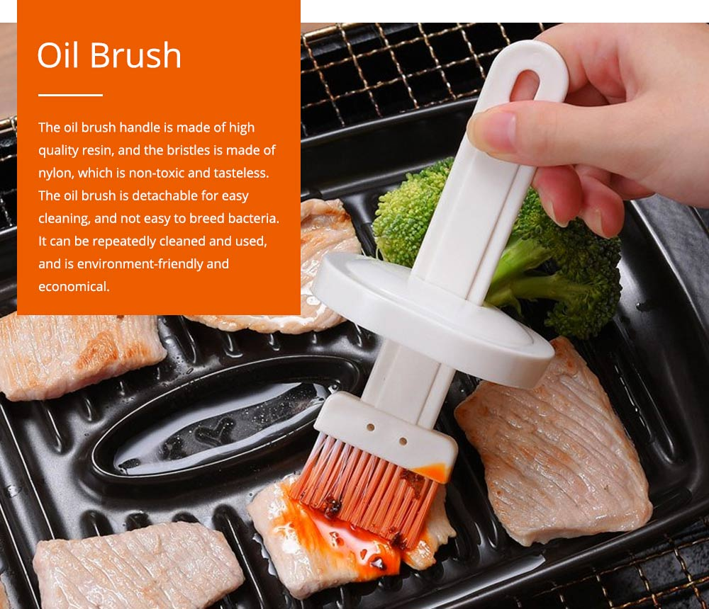 Oil Brush with Pot Container Japanese Cuisine Oil Brush BBQ Bake Tool High Temperature Resistance Oil Brush for Kitchen Household 0