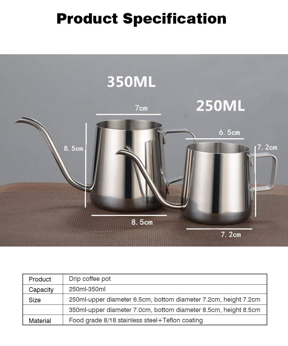 Stainless Steel Drip Coffee Maker Hand Drip Coffee Pot Narrow-mouthed Drip Coffee Urn Long Mouth Teflon Coffee Maker 10