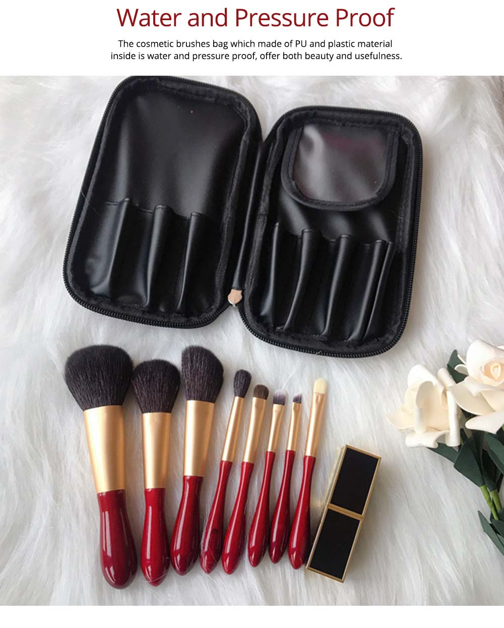 8pcs Red Glaze Makeup Brushes Soft Cosmetic Eyebrow Shadow Brush Tool Set with Bag for Freshman of Makeup 4