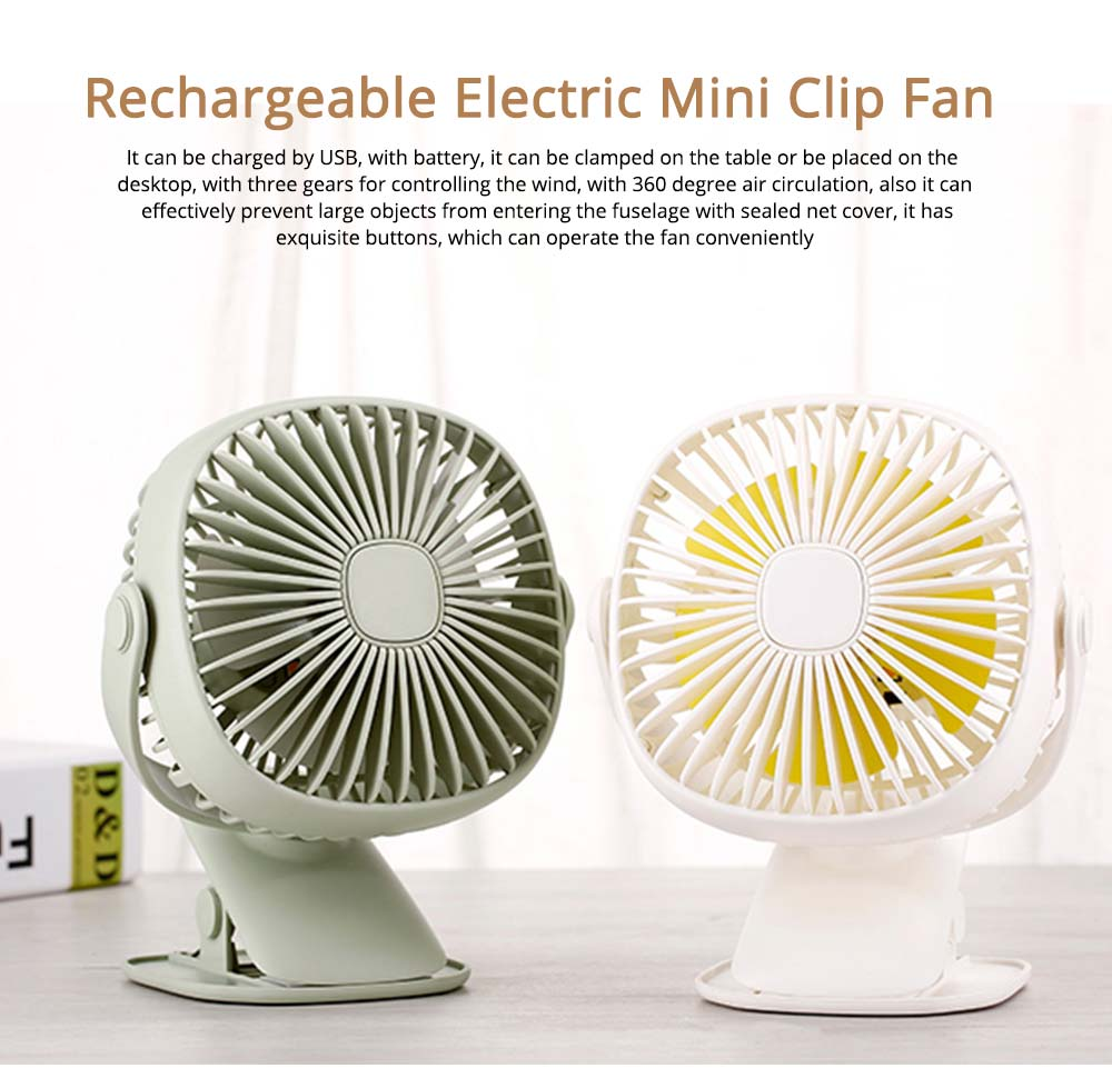 Rechargeable Portable Fan Table Clip Desk 360 Degree Rotation USB Electric Mini Fan with Lithium Cooling Battery 0