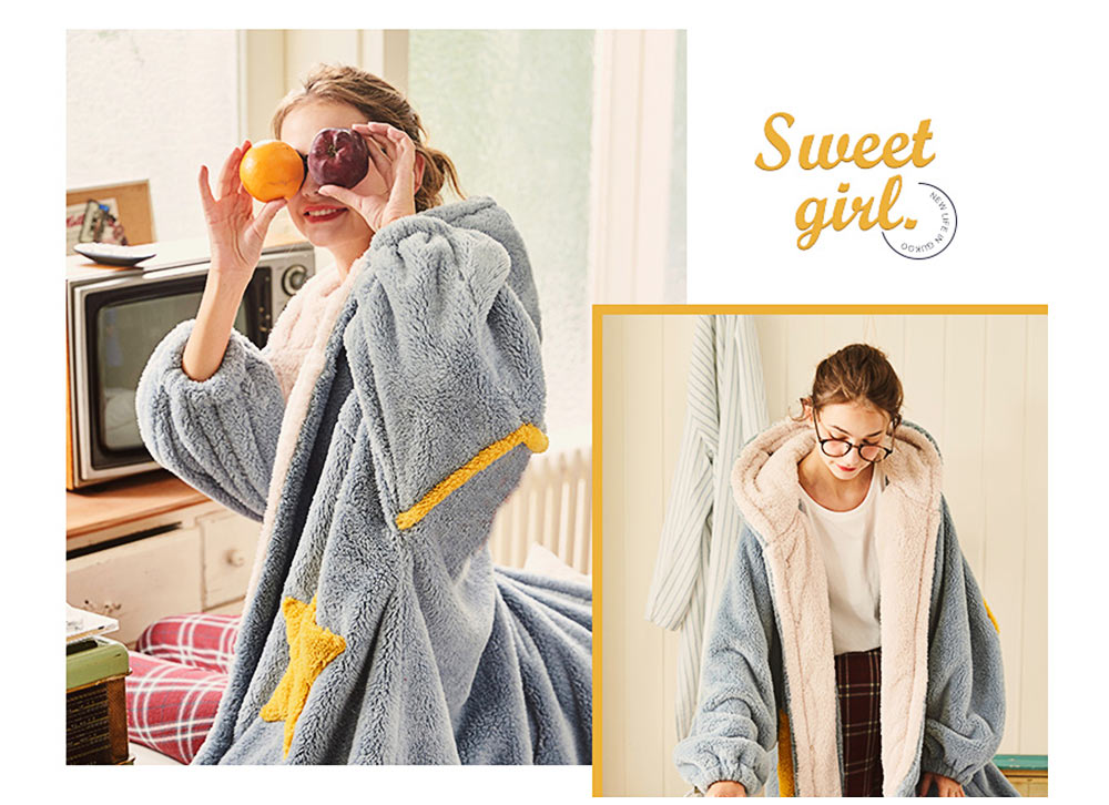 Nightclothes Breathable Sleepwear Long Style for Women Girl Flannel Winter Pajamas 4
