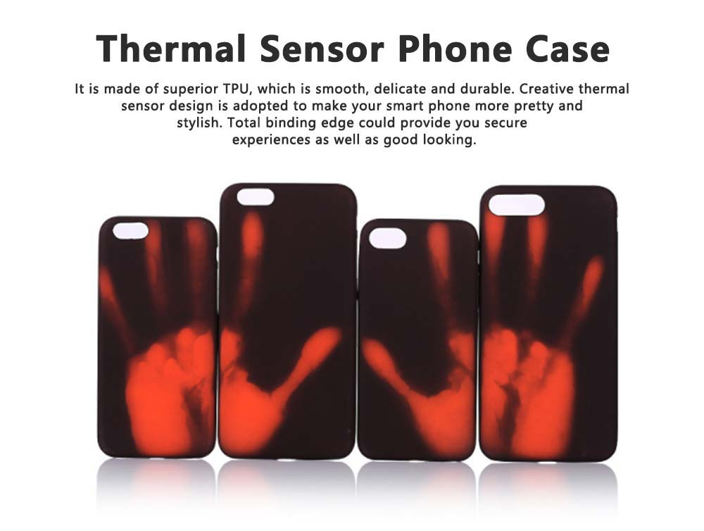 Creative Thermal Sensor Phone Case for iPhone, Minimalist Heat Induction Phone Cover, Luxury Soft PU Phone Case Back Cover 0