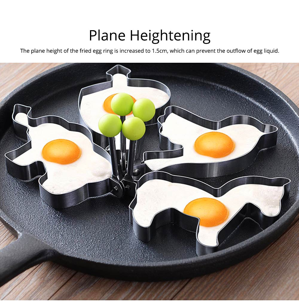 Fried Egg Ring Creative Cartoon Kitchen Tools Stainless Steel Omelette Model 4-piece Non-stick With Handle Omelette 5