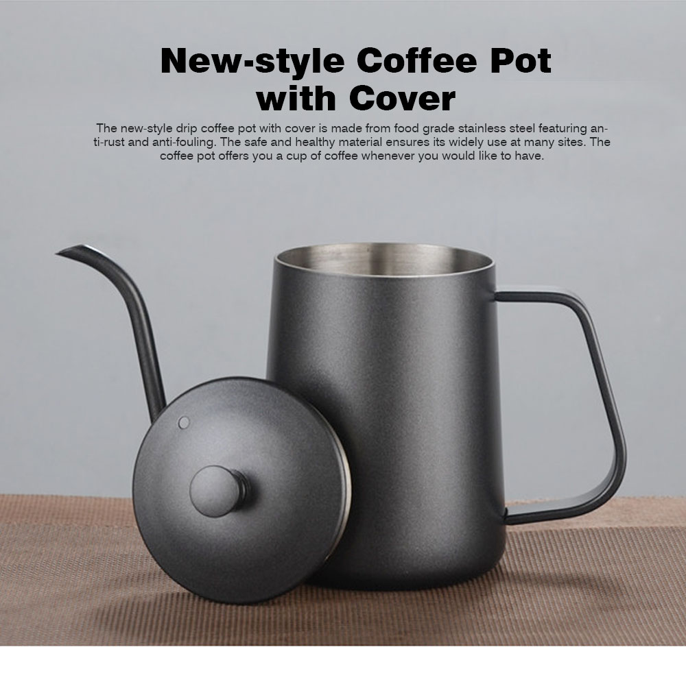 New-style Coffee Pot with Cover for 600ML Capacity Drip Coffee Maker Coffee Cup Teflon Hand Drip Coffee Urn 0
