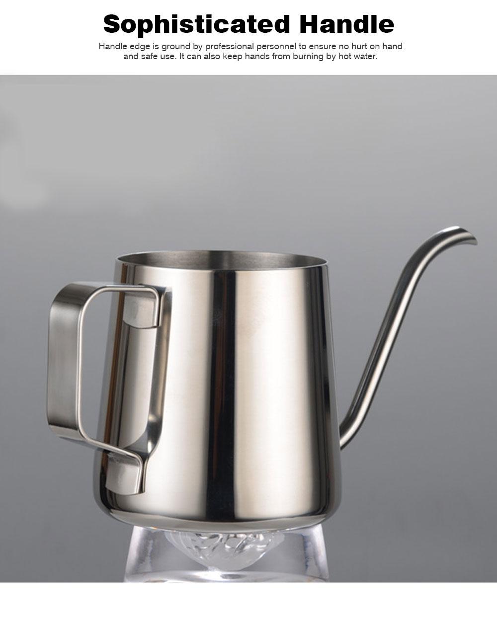 Stainless Steel Drip Coffee Maker Hand Drip Coffee Pot Narrow-mouthed Drip Coffee Urn Long Mouth Teflon Coffee Maker 5