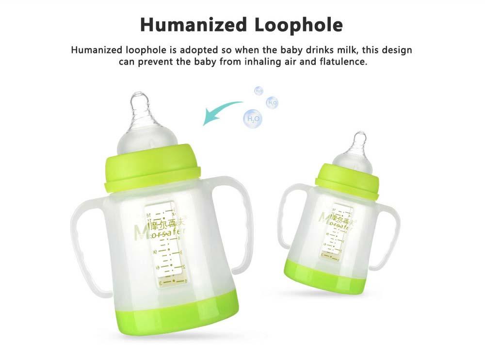 Broad Bore Borosilicate Glass Feeding Bottle, Infants Feeding Bottle With PP Protective Sleeve 4
