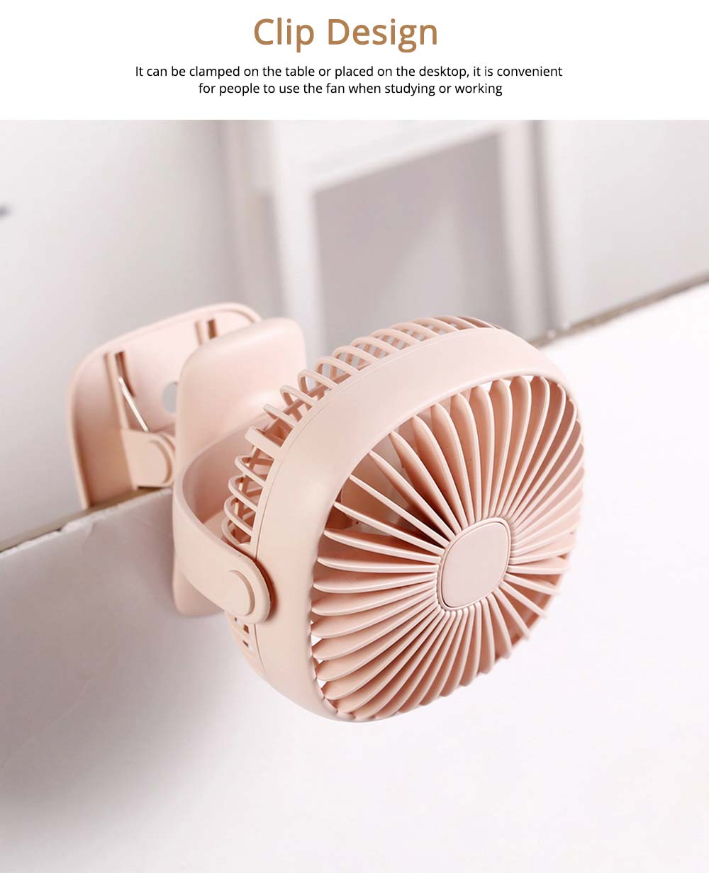 Rechargeable Portable Fan Table Clip Desk 360 Degree Rotation USB Electric Mini Fan with Lithium Cooling Battery 5