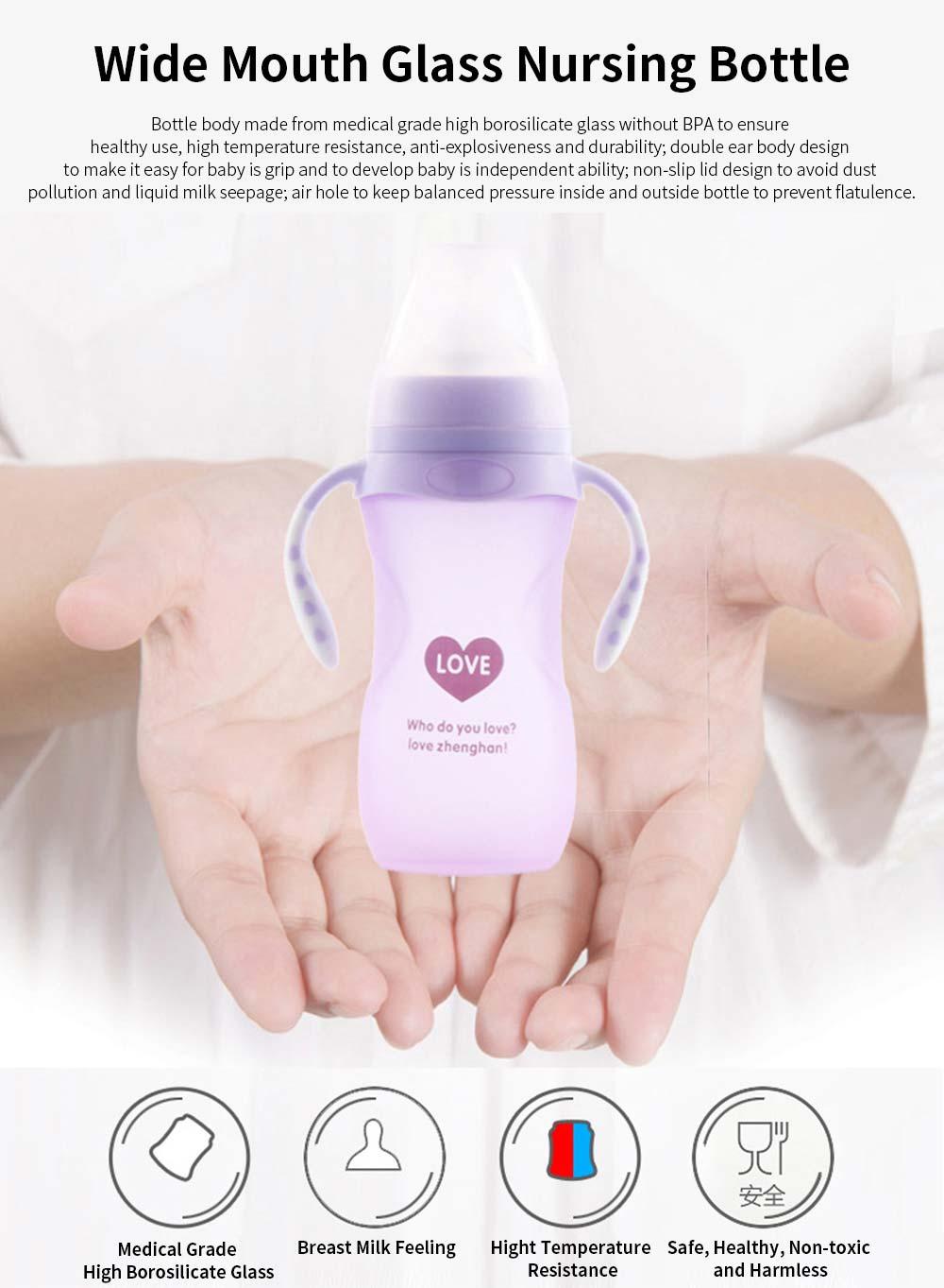Silica Gel Nursing Bottle EXW, Wide Mouth Not Breakable Nurser Flatulence Prevention Glass Feeding Bottle for New-born Babies 0