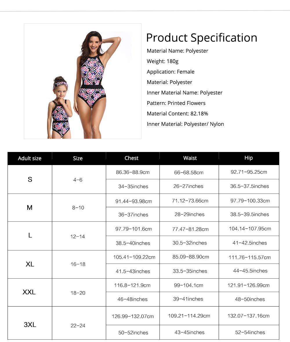 Parent-child Fashionable One-piece swimsuit, Family Matching Mommy and Me Floral Bikini Bathing Suits 5