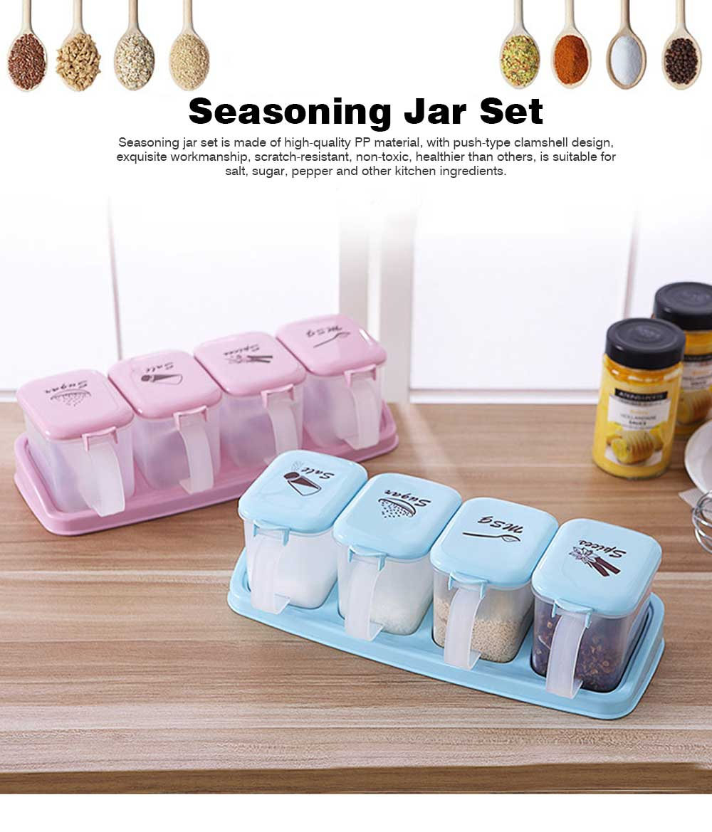 Sealed Independent Compartment Seasoning Jars Set, Kitchen Seasoning Cans for Placing Salt, Sugar, Pepper 0