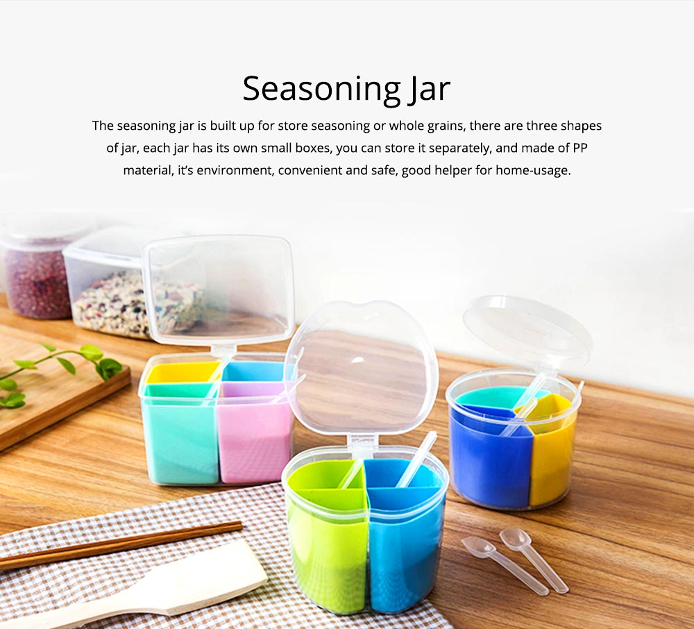 Seasoning Jar Multiple Grid Condiment Bottles Plastic Container For Household Kitchen Multipurpose Storage Box 0