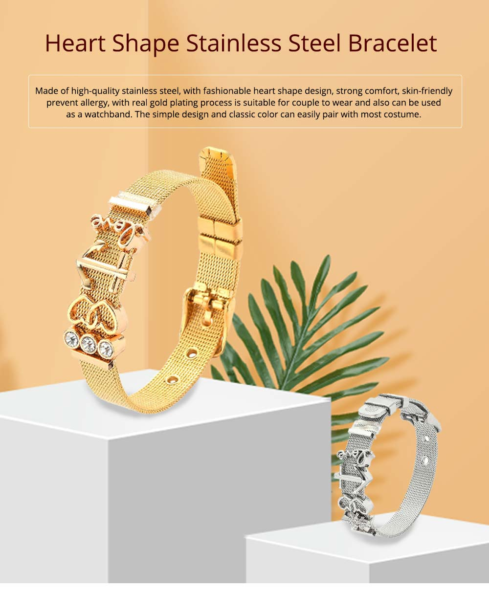 Simple Heart Shape Stainless Steel Bracelet Real Gold Plating for Couple and Fashion People 0