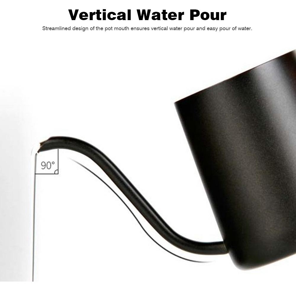 Stainless Steel Drip Coffee Maker Hand Drip Coffee Pot Narrow-mouthed Drip Coffee Urn Long Mouth Teflon Coffee Maker 8