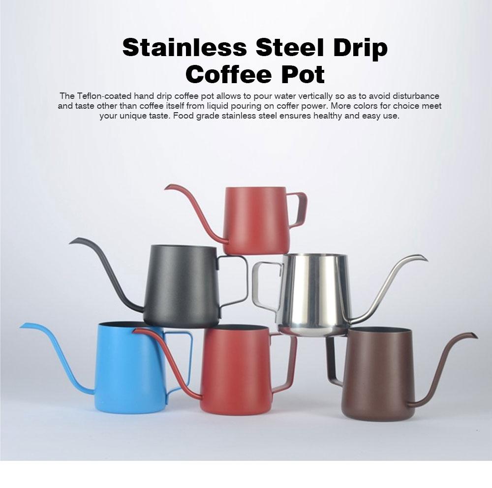 Stainless Steel Drip Coffee Maker Hand Drip Coffee Pot Narrow-mouthed Drip Coffee Urn Long Mouth Teflon Coffee Maker 0