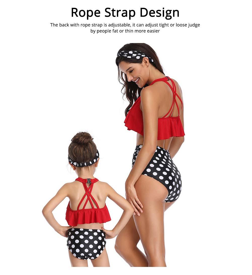 New Style High Waist Ruffle Two Piece Women Girl Fashion Parent-Child Swimsuit Swimwear 2