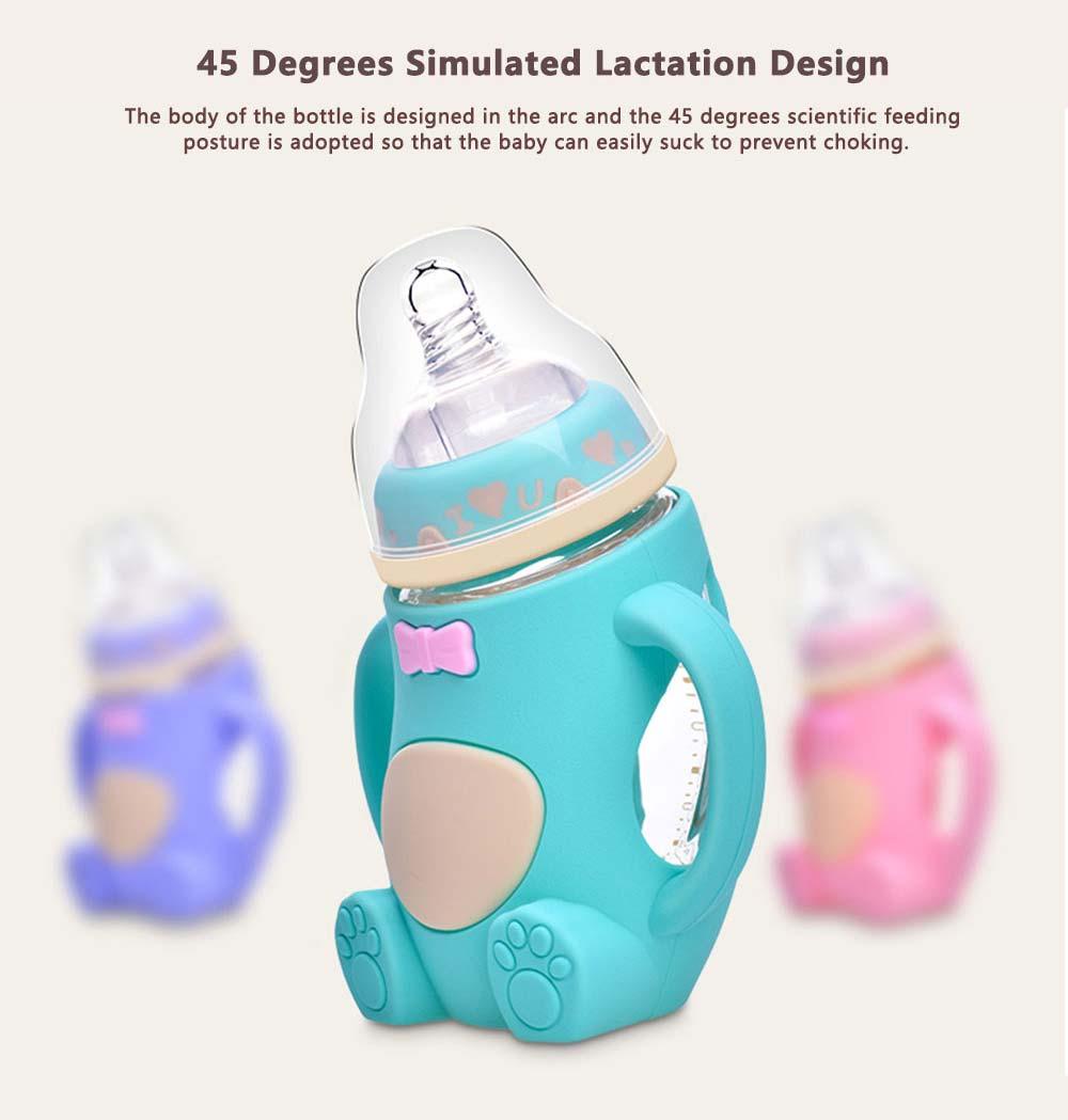Newborn Baby Borosilicate Glass Feeding Bottle, Bear Infant Feeding Nursing Nipple Bottle with Silicone Handle 1