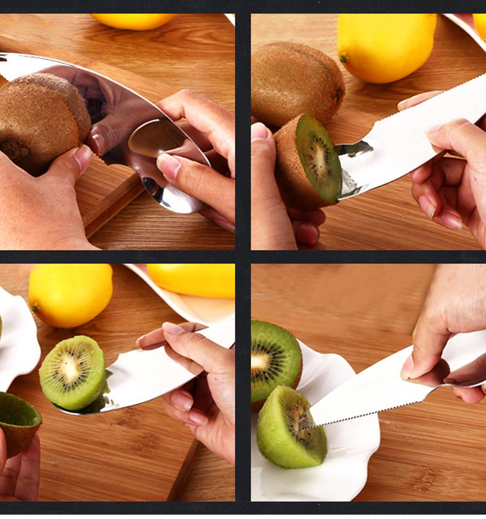 Kiwi Fruit Peeler 304 Stainless Steel Slicer Multifunctional Fruit Knife Kiwi Peeler Pulp Scoop Kitchen Tool Fruit Slicer 4