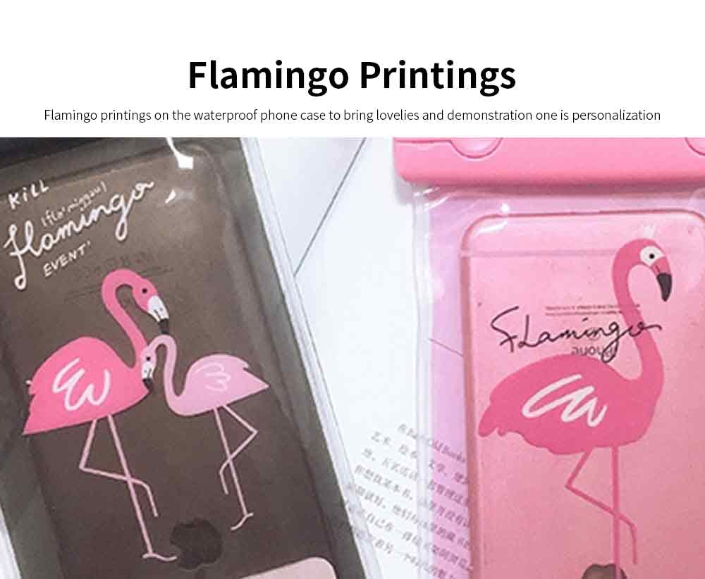 Flamingo Waterproof Phone Case for Apple, Vivo, Outdoor Universally Diving Waterproof Phone Case with Touch Screen and Long Strap to Hang on Neck 1