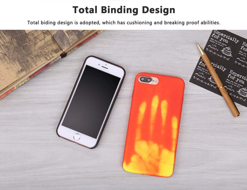 Creative Thermal Sensor Phone Case for iPhone, Minimalist Heat Induction Phone Cover, Luxury Soft PU Phone Case Back Cover 4