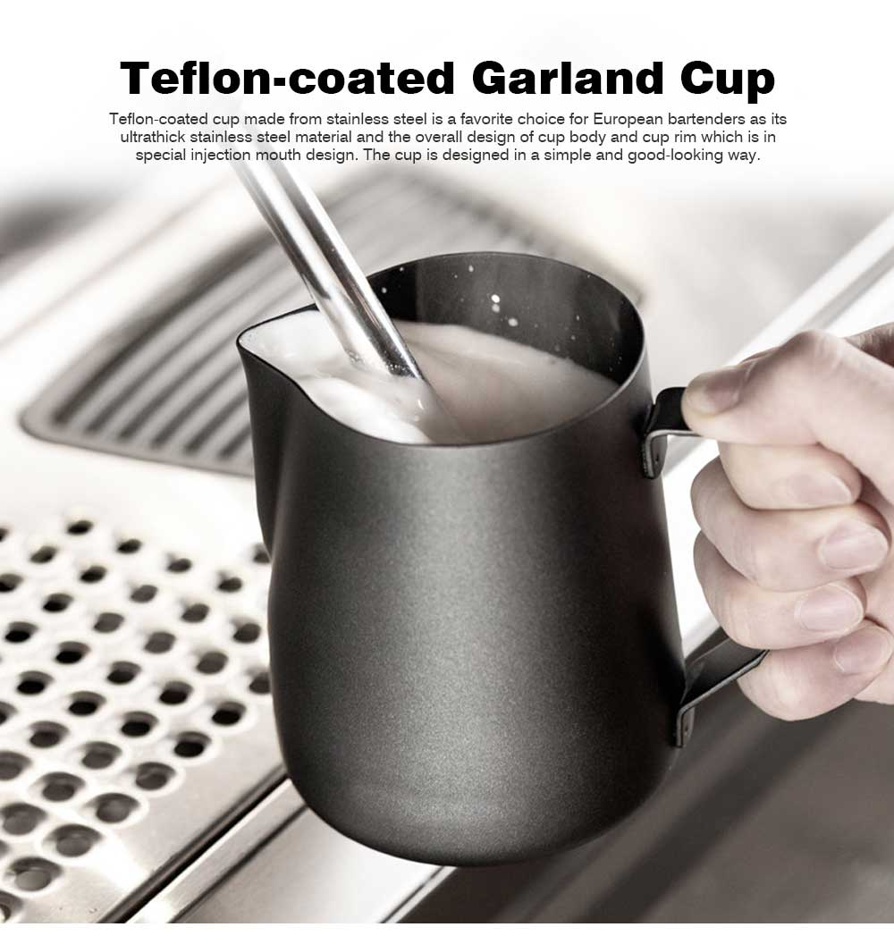 Teflon-coated Garland Cup for Milk Stainless Steel Cup for Milk Non-Stick Milk Mug with 350ml/600ml Coffee Cup 0