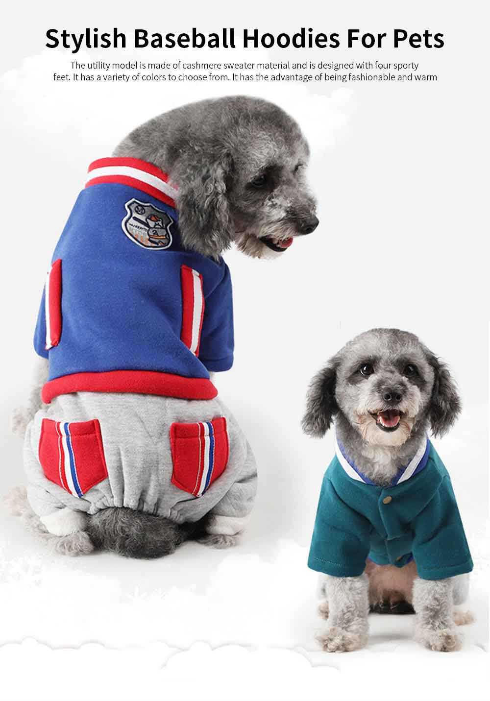 New Baseball Hoodies for Pets, Striped Pet Supplies for Four-legged Dogs, Stylish Fake Pocket Dog Clothes 0