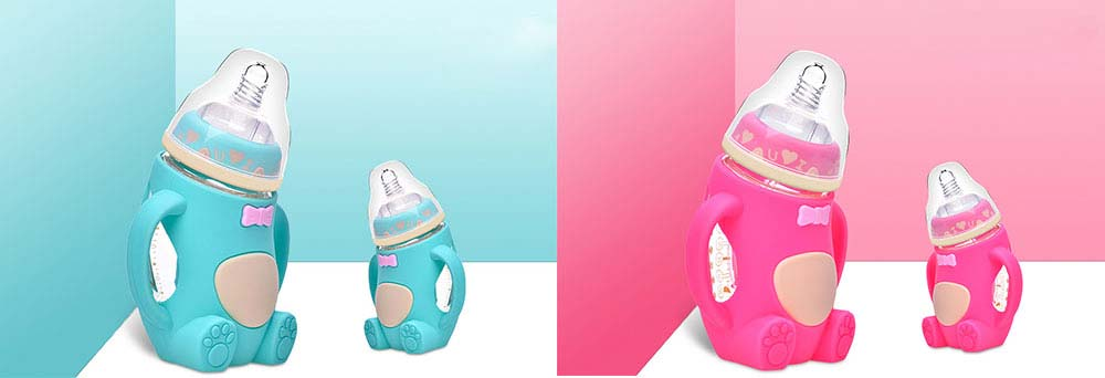 Newborn Baby Borosilicate Glass Feeding Bottle, Bear Infant Feeding Nursing Nipple Bottle with Silicone Handle 9