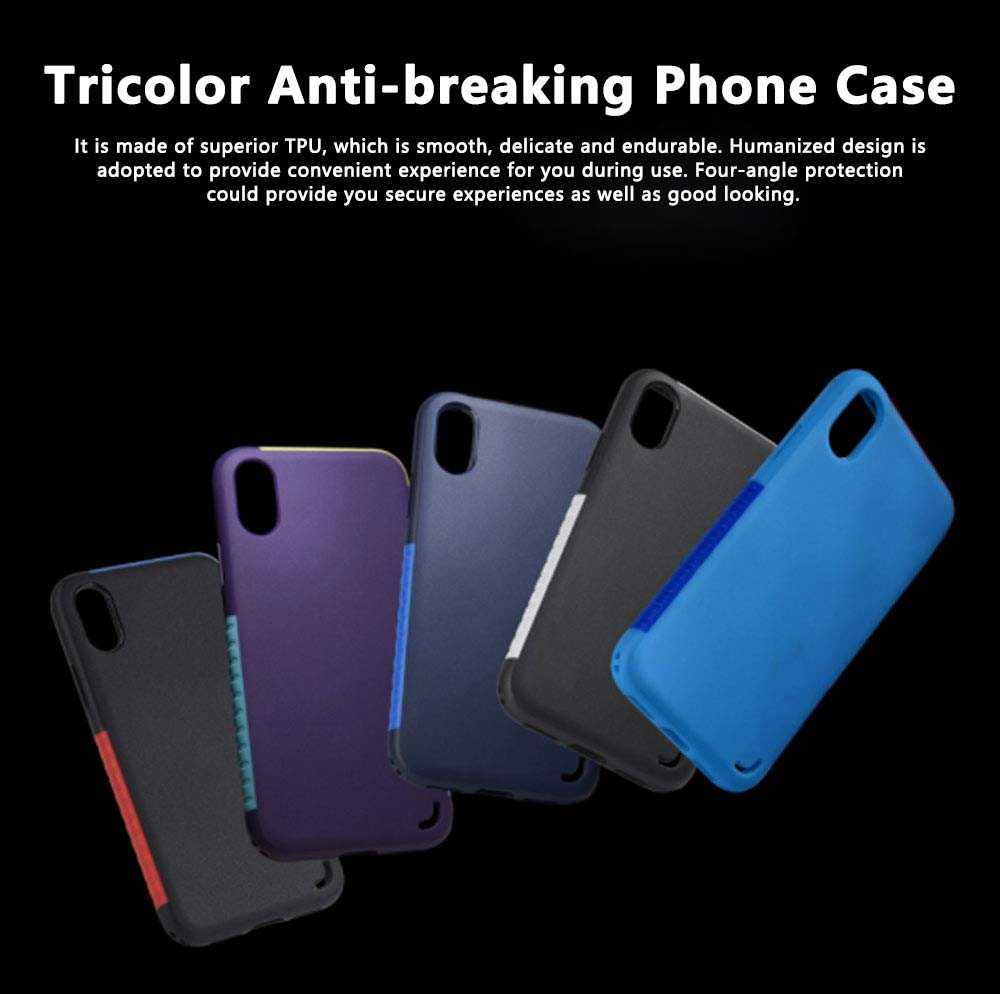 Tricolor Anti-breaking Phone Case, Luxury Soft TPU Phone Cover Case for iPhone, Samsung Case Cover with Creative Humanized Design 0
