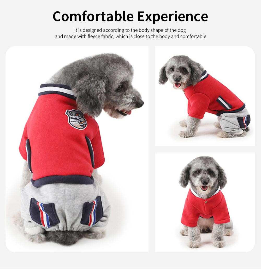 New Baseball Hoodies for Pets, Striped Pet Supplies for Four-legged Dogs, Stylish Fake Pocket Dog Clothes 1