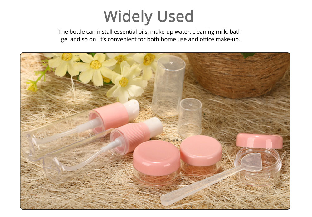 Travel Mini Plastic Transparent Empty Cosmetic Make Up Container Bottle Jar Lotion Cream Shampoo 6pcs/set 3