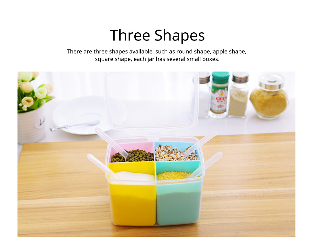 Seasoning Jar Multiple Grid Condiment Bottles Plastic Container For Household Kitchen Multipurpose Storage Box 7