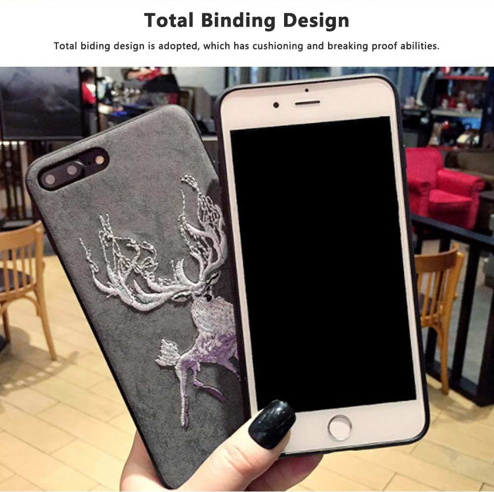 Embroidery Cartoon Flamingo Deer Phone Case, Luxury Soft PC+Silicone Case Cover for iPhone, Vivo, Oppo, Huawei, Creative Stylish Phone Cover 8