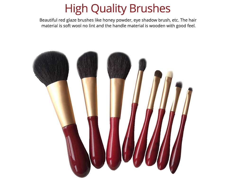 8pcs Red Glaze Makeup Brushes Soft Cosmetic Eyebrow Shadow Brush Tool Set with Bag for Freshman of Makeup 2