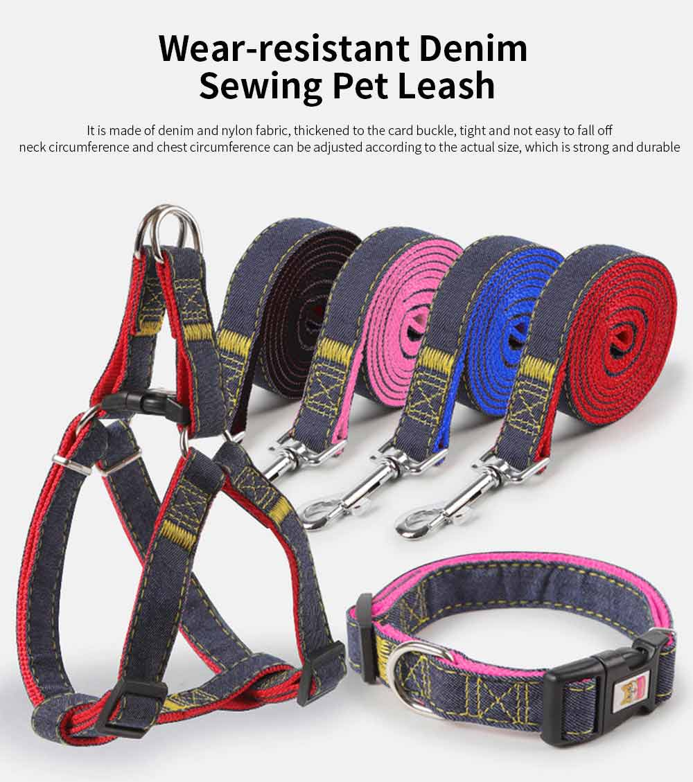 Wear-resistant Denim Sewing Pet Leash for Small Medium-sized Dogs, New Sleek Minimalist Pet Supplies 0